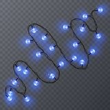Set of color garlands, festive decorations. Glowing christmas lights isolated on transparent background. Vector. Eps 10 illustration Stock Images