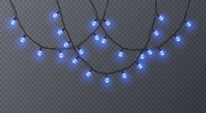 Set of color garlands, festive decorations. Glowing christmas lights isolated on transparent background. Vector. Eps 10 illustration Royalty Free Stock Photos