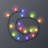 Set of color garlands, festive decorations. Glowing christmas lights isolated on transparent background. Vector. Eps 10 illustration Royalty Free Stock Images
