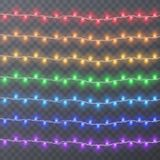 Set of color garlands, festive decorations. Glowing christmas lights isolated on transparent background. Vector. Eps 10 illustration Stock Photography