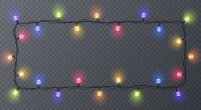 Set of color garlands, festive decorations. Glowing christmas lights  on transparent background. Frame with. Set of color garlands, festive decorations. Glowing Stock Image