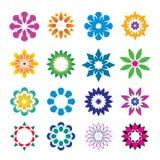 Set of color geometric flowers. Vector Illustration and icons. Set of color geometric flowers. Vector Illustration stock illustration