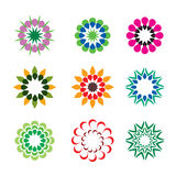 Set of color geometric flowers. Vector Illustration. Set of color geometric flowers an icons. Vector Illustration vector illustration