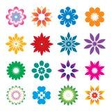 Set of color geometric flowers. Vector Illustration and icons vector illustration