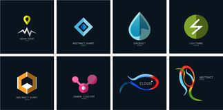Set of color geometric icons on blue Royalty Free Stock Image