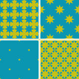 Set of 4 color geometric seamless pattern with Christmas stars. Stock Photo