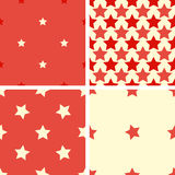 Set color geometric seamless pattern with five-pointed stars. Set of 4 color geometric seamless pattern with five-pointed stars. Red, beige vector illustration