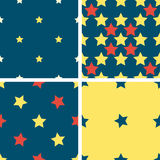 Set color geometric seamless pattern with five-pointed stars. Set of 4 color geometric seamless pattern with five-pointed stars. Red, blue, yellow stock illustration