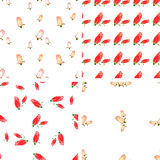 Set of 4 color geometric seamless pattern with flowers rose. Hand draw. Red, white, beige Stock Photography