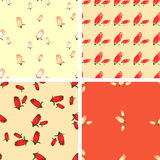 Set of 4 color geometric seamless pattern with flowers rose. Hand draw. Red, white, beige Royalty Free Stock Image