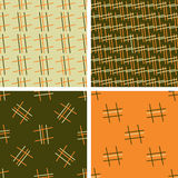 Set of 4 color geometric seamless pattern with linear ornament. Stock Images