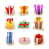 Set of color gift boxes with bows and ribbons.set isolated on white background.design elements Stock Image