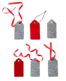 Set of color gift tags isolated on white background. Christmas gift tag tied with red ribbon. Stock Image