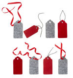 Set of color gift tags isolated on white background. Royalty Free Stock Photo