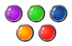 Set of color glass buttons Stock Images