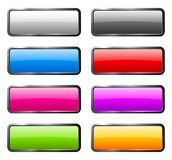 Set of color glass buttons. With light reflection Stock Image