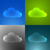 Set of color glass clouds. Royalty Free Stock Photo