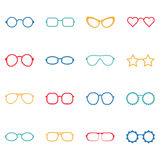 Set of color glasses and sunglasses icons, illustration Stock Image
