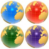 Set of color globes. Set of four blue, red, green and purple color globes isolated over white Stock Image