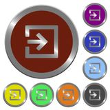 Color import buttons. Set of color glossy coin-like import buttons Royalty Free Stock Image
