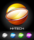 Set of color glossy sphere with metal elements. Hi-tech vector sphere design with metal elements Stock Image
