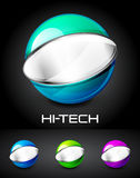 Set of color glossy sphere with metal elements Royalty Free Stock Photos