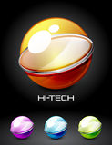 Set of color glossy sphere with metal elements Stock Image