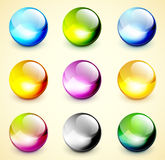 Set of color glossy spheres Stock Images
