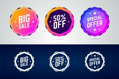 Set of color gradient badges for sale promotions. Big sale, 50 percents off and special offer labels. Black and white variants. Vector illustration royalty free illustration