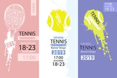 Set of color grunge designs of banners for tennis. Sketch tennis racket, dirty ball. Hand drawing. Vertical Sport flyer template. Abstract background vector illustration