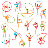 Set Of Color Gymnast Girl Figures. Set of color girl figures performing gymnastic exercises with mace hoop and tapes on white background isolated vector Stock Photo