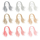 Set of color hair styling for woman. Different color hair  - Vector illustration Royalty Free Stock Image