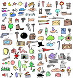 Set color hand drawn objects Stock Photography