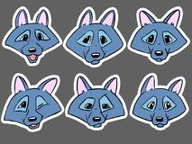 Set of color heads of wolf - emotions of wolf. Coloring page, line art Royalty Free Stock Image