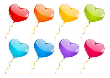 Set of color heart balloons Royalty Free Stock Images