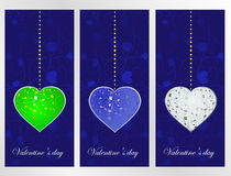 Set color hearts on a blue patten background Royalty Free Stock Photo