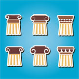 Set of color icons with  ancient columns Royalty Free Stock Photos