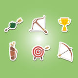 Set of color icons with archery Royalty Free Stock Photo