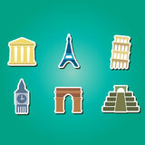 Set of color icons with  architectural monuments of world Royalty Free Stock Photo