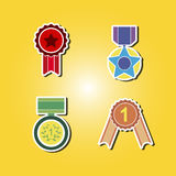 Set of color icons with awards symbols Stock Photography