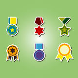 Set of color icons with  awards symbols Stock Photo