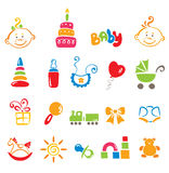 Set of color icons - baby Stock Photos