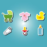 Set of color icons with  baby stuff Stock Images