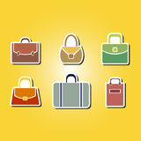 Set of color icons with bags Stock Photos