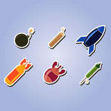 Set of color icons with bombs Royalty Free Stock Photos