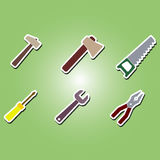 Set of color icons with building tools Stock Images