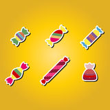 Set of color icons with candy Stock Photos
