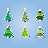 Set of color icons with  Christmas trees Stock Photo