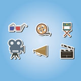 Set of color icons with cinema symbols Stock Photo