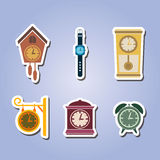 Set of color icons with clock Stock Photography